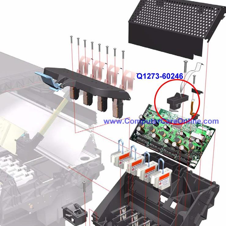 Line Optical Designjet : Q  hp designjet carriage line and color sensor
